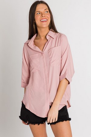 Dusty Blush Button Top