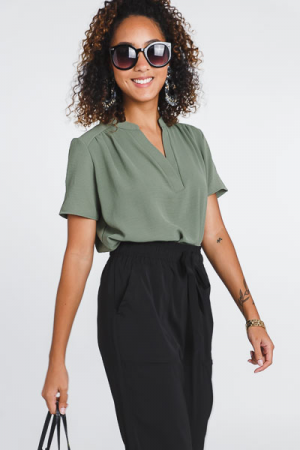 Work Hours Blouse, Olive