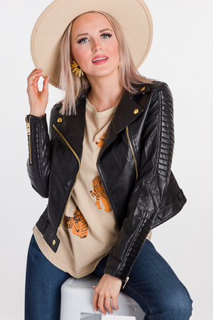 Quilted Leather Jacket, Black/Gold