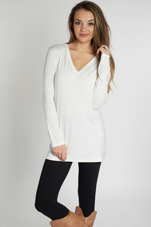 Long Sleeve Piko Tunic, Cream