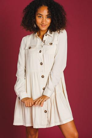 Natural Button Tiered Dress