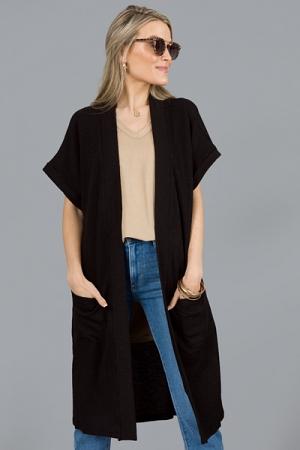 Short Sleeve Rib Cardi, Black
