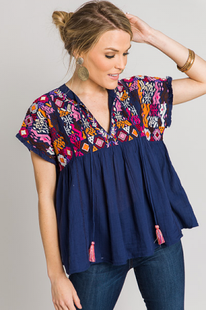 Aztec Embroidered Babydoll, Navy