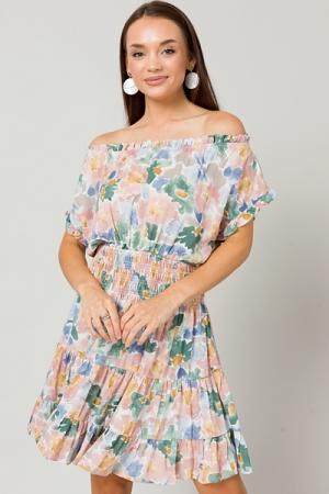 Smock Waist Blooms Dress, Mauve