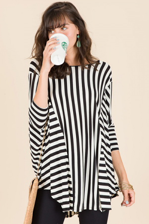 Missy Tunic, Black Stripes