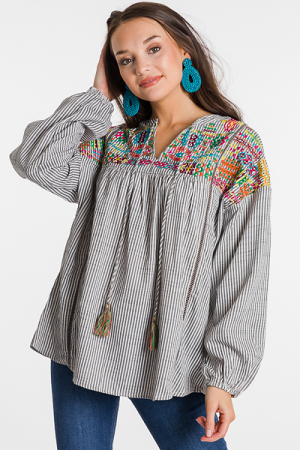 Compass Embroidery Top