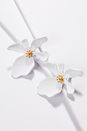 Painted Flower Studs, White