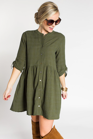 Bailey Button Dress, Olive