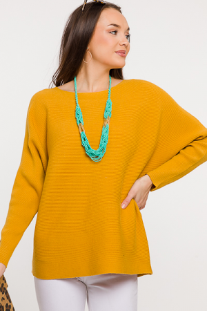 Becky Ribbed Sweater, Mustard