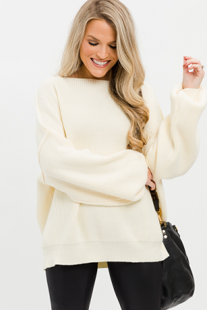 Boatneck Sweater, Ivory