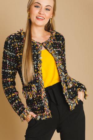 Pops of Color Tweed Jacket, Black