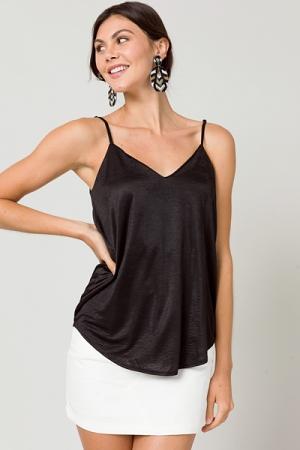 Silky Solid V Cami, Black