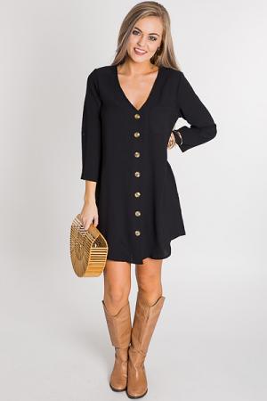 Buttoned V Dress, Black
