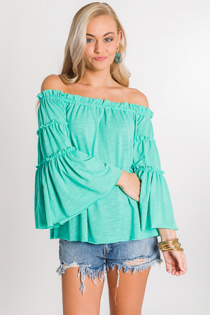 Ruffle Seam Off Shoulder, Green