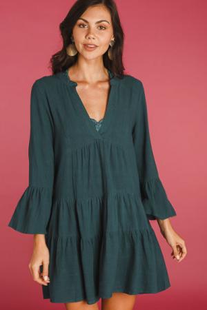 Plunge Neck Woven Dress, Green