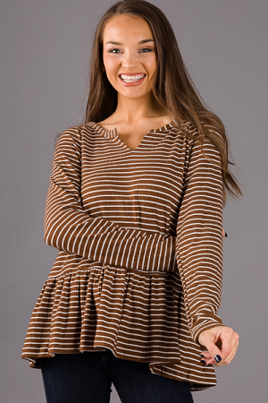 Becky Peplum Stripe Top, Chocolate