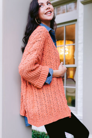 Cuffed Cable Knit Cardi, Clay