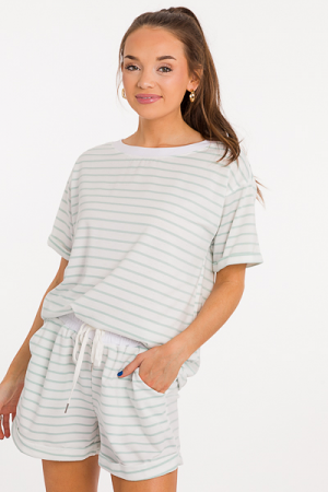 Cuff Stripe Short Set, Mint