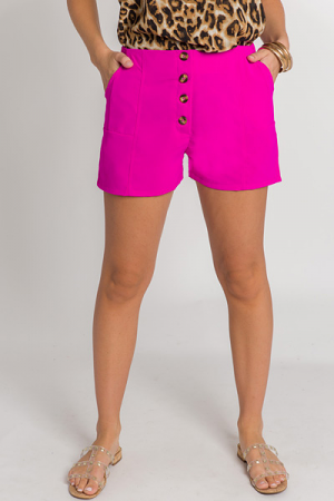 Bold Button Shorts, Hot Pink