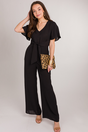 Polly Tie Front Jumpsuit, Black