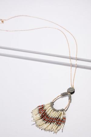 Bead Fringe Necklace, Ivory