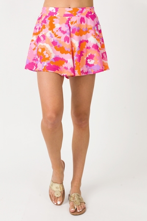 Adrey Shorts, Fuchsia Tie Dye