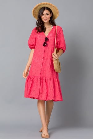 Eyelet Embroidery Midi, Coral