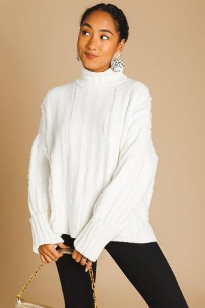 Distressed Sweater Turtleneck, Cream