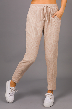 Cozy Thermal Pants, Taupe