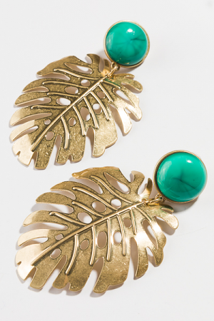 Turquoise Post Leaf Earring