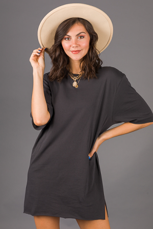 Raw Edge Tshirt Dress, Charcoal
