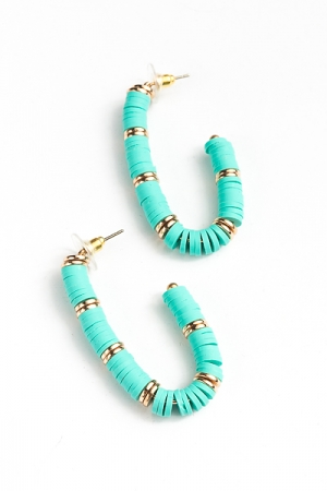 Curve Rubber Bead Hoops, Teal
