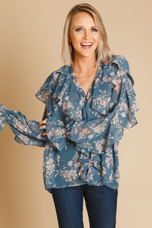 Ruffled Up Button Blouse, Blue