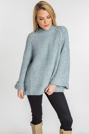 Sage Mock Neck Chenille Sweater