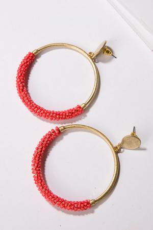 Bead Dip Earrings, Coral