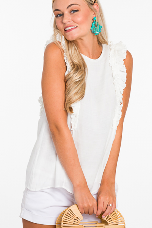 Princess Pleated Top, White