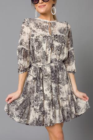 Toile Print Dress, Black