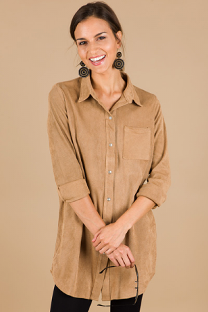 Taupe It Out Button Tunic