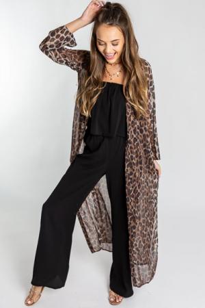 Long Sleeve Leopard Duster