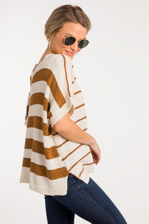 Flipped Stripes Sweater, Camel