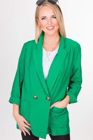 Double Breasted Blazer, Green