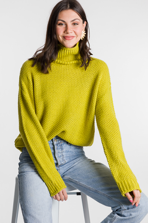 Bright Chunky Sweater, Lime