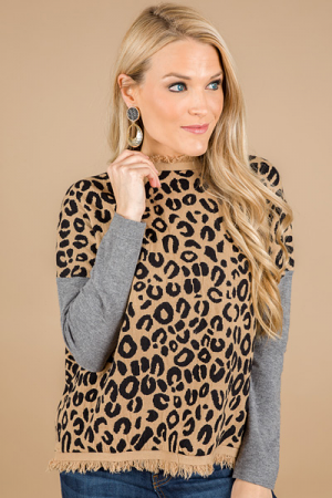 Leopard and Fringe Sweater
