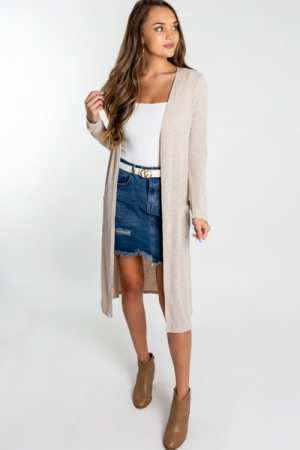 Long Sleeve Ribbed Duster, Taupe
