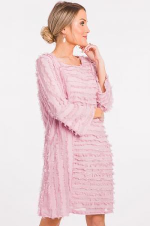 Eyelash Stripes Dress, Pink