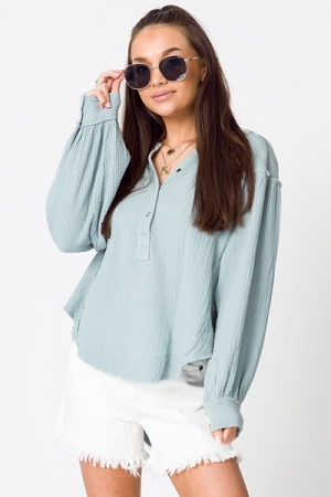 Gauze Snaps Pullover Top, Sage
