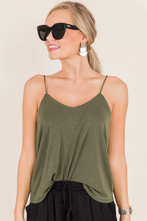 Bar Back Cami, Olive