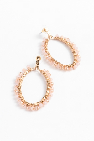 Beaded Oval Earrings, Rose