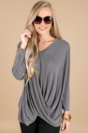 With a Twist Top, Grey