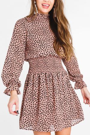 Smocked Waist Speckle Dress